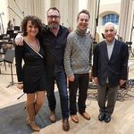 In the studio, from left: Irmina Trynkos, recording producer Philip Rowlands, Nimrod Borenstein, Vladimir Ashkenazy