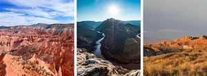 Left to Right: Cedar Breaks National Monument, Dinosaur National Monument, Goblin Valley State Park