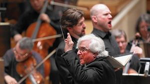 "Murry Sidlin conducts the Chicago Philharmonic in the Chicago premiere of his ""Defiant Requiem"" at Symphony Center on March 23, 2017."