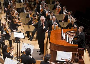 Bramwell Tovey and Cameron Carpenter in concert with the Boston Symphony, January 2017.