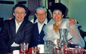 Bramwell Tovey (left) with Oskar Morawetz and mezzo-soprano Sandra Graham at Edmonton's Centennial Hall in 1992.