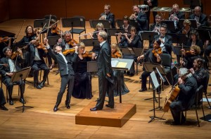 Violinist Paul Huang and conductor Carlos Miguel Prieto at Alice Tully Hall