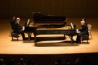 Marc-André Hamelin (left) and Emanuel Ax performing at Symphony Hall.