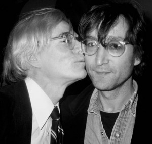 Andy kissing John Lennon
