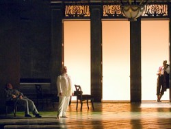 "The aging author Aschenbach (William Burden, left) wages his own philosophical battle between beauty, art and love in Benjamin Britten's <span style=""font-style: italic;"">Death in Venice</span> from Glimmerglass Opera. (Also pictured: John Gaston, center, as Apollo and David Pittsinger as the Traveler.)"