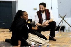 "<p class=""caption"">""Il Trovatore"" director Jose María Condemni works with soprano Lisa Daltirus, who has the role of Leonora, during a staging rehearsal for the opera.</p>"