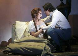 "LEADING PAIR: Kelly Kaduce and Arturo Chacón-Cruz star in Opera Pacific's production of ""La Bohème at the Orange County Performing Arts Center. <br />"