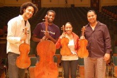 "<font color=""#000000"">Members of the Harlem Quartet posing with ""their"" Strads</font>"