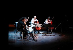"Protagonists of the ""El Arco y la Lira"" (""The Bow and the Lyre"") performed at the 6th Leo Brouwer Chamber Music Festival, in the José Martí Theatre in Havana, Cuba"