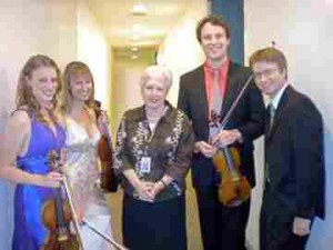 Edna with students at the Colburn Conservatory