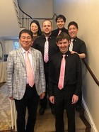 The 6821 Quintet poses with commissioner Dr. Ryuji Ueno after the premiere of Clancy's piece.