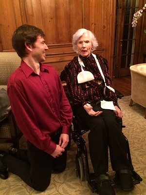 Newman shares a joke with Roberta McCain, senator John McCain's 106-year-old mother, after his recital at Evermay.