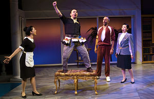 "From left, Samarie Alicea, José Adán Pérez, Ethan Herschenfeld and Sahoko Sato Timpone in ""¡Figaro! (90210)"" at the Duke on 42nd Street. Political strands in familiar works have been popping out with new resonance in a series of recent performances."