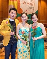 the three Leopold Mozart Competition finalists, Ziyu He, Ji Won Song and Jae Hyeong Lee