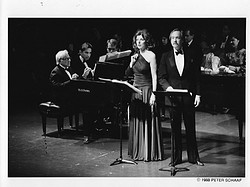 Lenny and Joyce during the first performance of Arias and Barcarolles.  With Michael Tilson Thomas also seated at the piano, and baritone John Brandstetter.