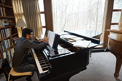 In the studio where Aaron Copland once worked, Michael Brown works on his Concerto for Piano and Strings