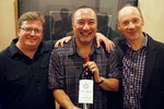 The Montrose Trio at the Santa Fe Chamber Music Festival, presented with a bottle of Chateau Montrose by Artistic Director Marc Neikrug.