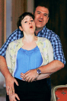 "Michael Chioldi sings opposite Alicia Berneche in a rehearsal for the El Paso Opera production of ""Marriage of Figaro."""