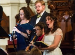 Tenet and the Sebastians: From left, Priscilla Herreid, Geoffrey Williams, Debra Nagy and Molly Quinn during these ensembles' performance at Holy Trinity Lutheran Church on the Upper West Side.
