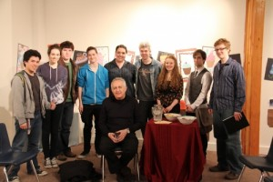 Bramwell with students at Langley Fine Arts School, BC